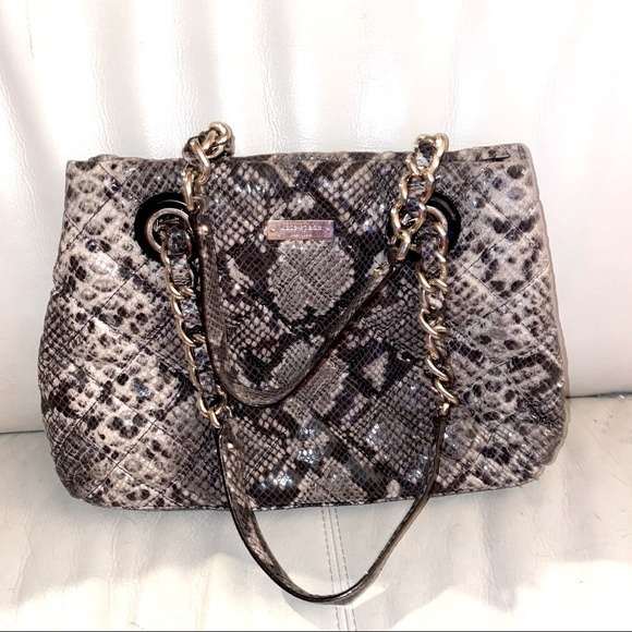 Retired Kate Spade Quilted Snake Emb Satchel